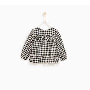 Zara baby girl gingham blouse